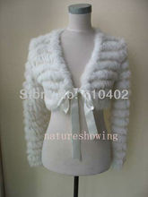 Free shipping/ New style  Real rabbit fur knitted coat/jacket/ Short jackets/white