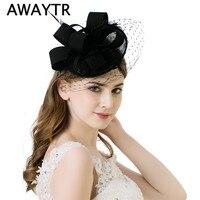ผู้หญิงแฟนซีขนนกดอกไม้หมวกอุปกรณ์ผมเจ้าสาวสำหรับงานแต่งงานหมวกผู้หญิงที่สง่างามลูกไม้...