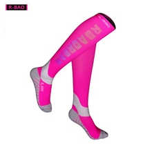 R-BAO 1 Pair High Quality Professional Cycling Socks Men Marathon Sports Night Reflective Running Sock Long Compression Socks цена и фото