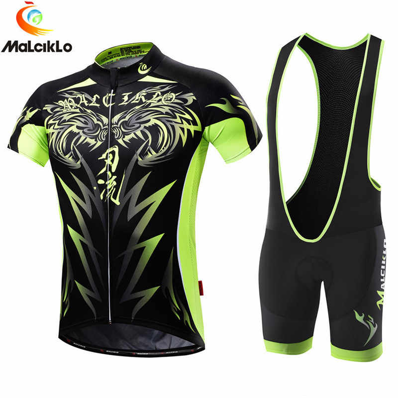 Malciklo Fluor Hijau 100% Polyester Pria Bersepeda Jersey Set 2018 New Mountian Sepeda Sepeda Pakaian Ropa Ciclismo Maillot Suit