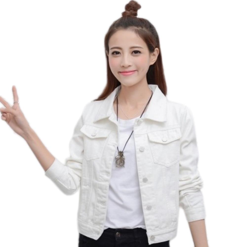 Women Denim Jacket Coat Blue White Autumn Casual T