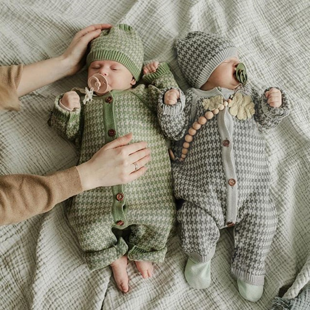 Autumn Knitted Newborn Baby Clothes Cotton Autumn Winter Baby   Romper   With Plaid Hat Infant Toddler Jumpsuit For Girls Boys Set