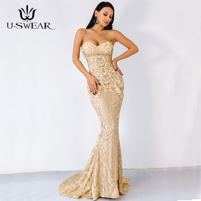 U-SWEAR Sexy Elegant Strapless Sleeveless Backless Floor-Length   Evening     Dresses   Party Prom Formal Gowns Vestidos Robe De Soiree