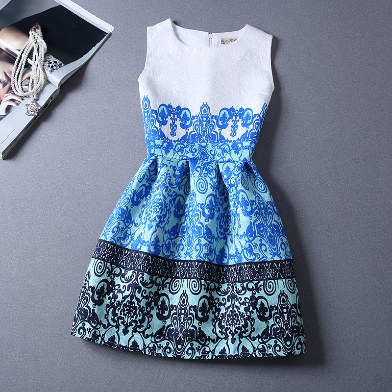 2d6b54893d3 A-LINE CASUAL LADY SUMMERDRESS PRINT FLOWERS SHLEEVELESS GIRLS BUBLLE HIGH  STREET DRESSES GIFT FOR