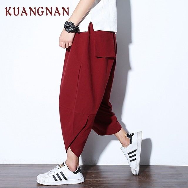 KUANGNAN Chinese Casual Pants Men Ankle-Length Cotton Linen Loose Harem Pants Men Joggers Solid Streetwear Men Pants 2018 Autumn 4