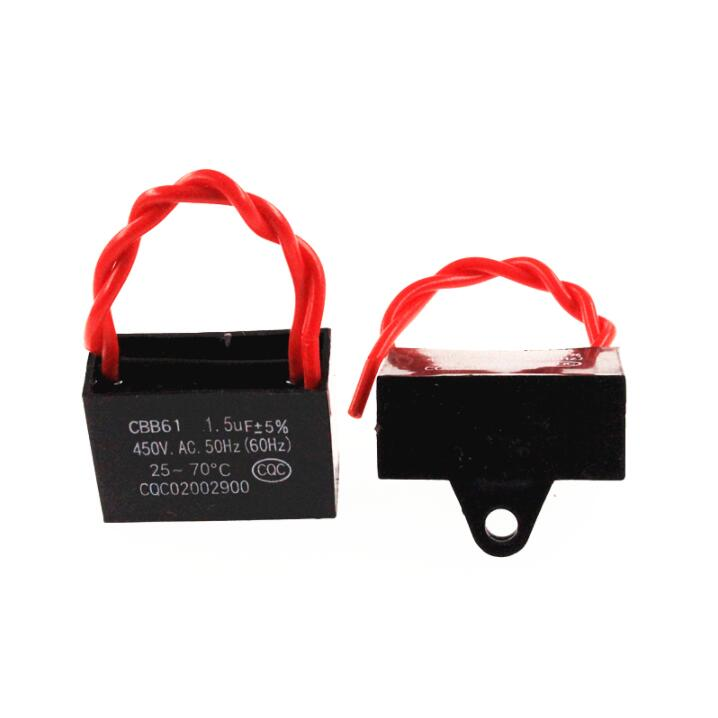 5pcs CBB61 starting capacitor 450V 1.5UF <font><b>fan</b></font> starting capacitor / lead length <font><b>10CM</b></font> image