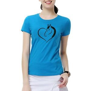 Image 2 - Thời trang Tình Yêu Cưỡi Ngựa Phụ Nữ T Áo Sơ Mi Mùa Hè cánh dơi sevele Cotton Vui Ngựa Cô Gái T Shirt Nữ Quần Áo Phụ Nữ Tops