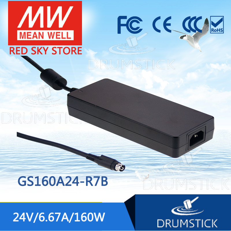 MEAN WELL original GS160A24-R7B 24V 6.67A meanwell GS160A 24V 160W AC-DC Industrial Adaptor [Hot6] 1mean well original gsm160a24 r7b 24v 6 67a meanwell gsm160a 24v 160w ac dc high reliability medical adaptor