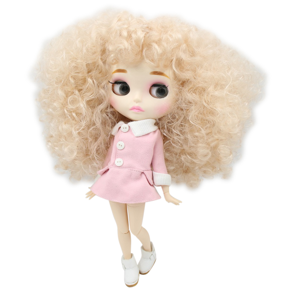 factory blyth doll BL3139 Blonde afro hair Carved lips Mate face with eyebrow Joint body 1
