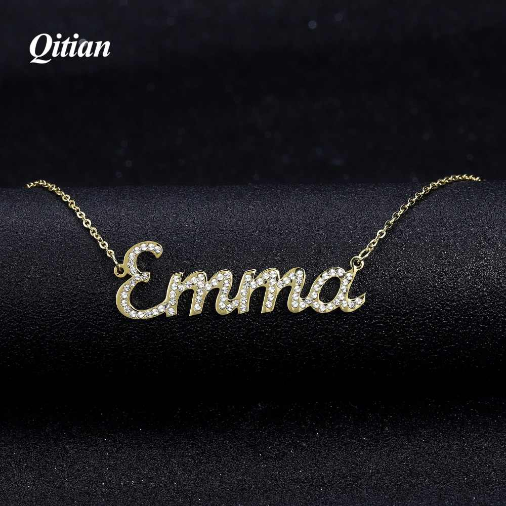 Custom Name Necklace   Iced Out Zirconia  Necklace for Women Stone Chain Necklaces Women Personalized Name Necklace ForWomen