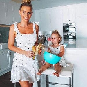 Image 2 - PPXX Familie Passenden Kleidung Mutter Tochter Kleid Polk Dot Mom Mädchen Kinder Familie Spiel Outfit Baby Mädchen Kleider Vestidos