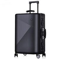 Для мужчин 20 24 дюйма чемодан на колесиках алюминиевая рама тележки Твердые Путешествия Для женщин посадочные сумки вести чемоданы магистра