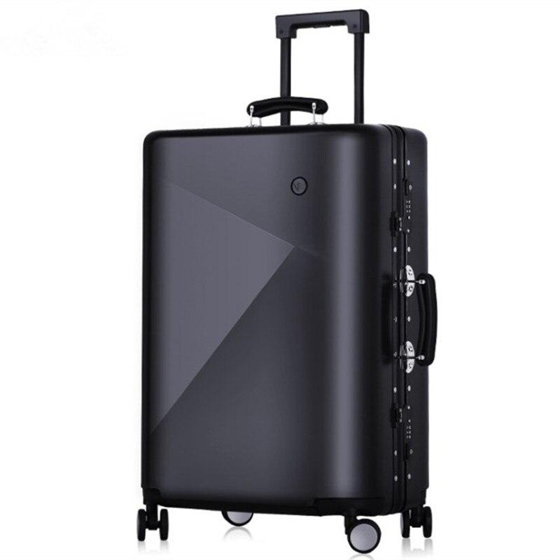 Hommes 20 24 pouces sac à bagages roulant cadre en Aluminium chariot solide voyage femmes sacs d'embarquement porter sur valises coffre Lockbox