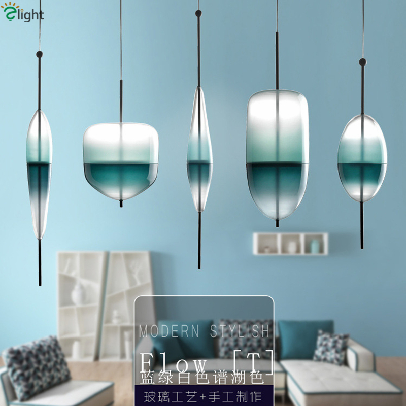 Lustre Venice FlowT Suspension Lamp Hand Blown Glass Led Pendant Light Nordic Gradient G4 For Dining Room