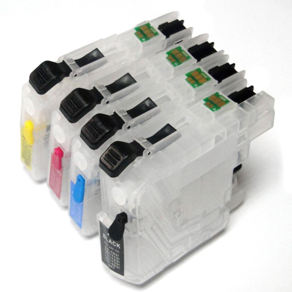 YOTAT 1set Empty Refillable ink cartridge LC563 LC 563 for Brother MFC-J2310 MFC-J2510 MFC-J3520 MFC-J3720 printer
