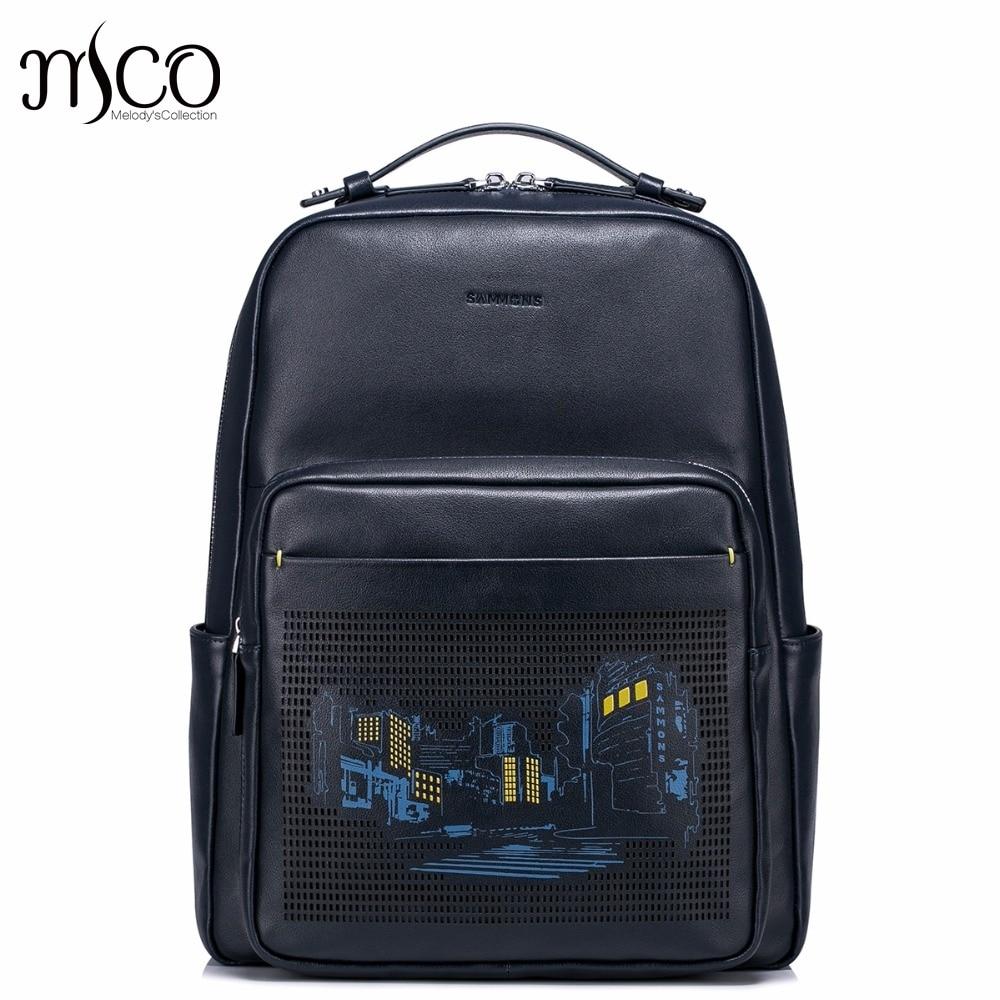 Men Embossed Genuine Cow Leather Men's Backpack Male Natural Leather Laptop Computer Bags Waterproof Travel School Shoulders Bag