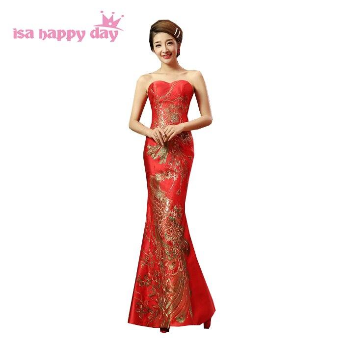 Vestiti Cerimonia Cinesi.Red Mermaid Abito Lungo Senza Bretelle Della Sposa Di Stile Cinese