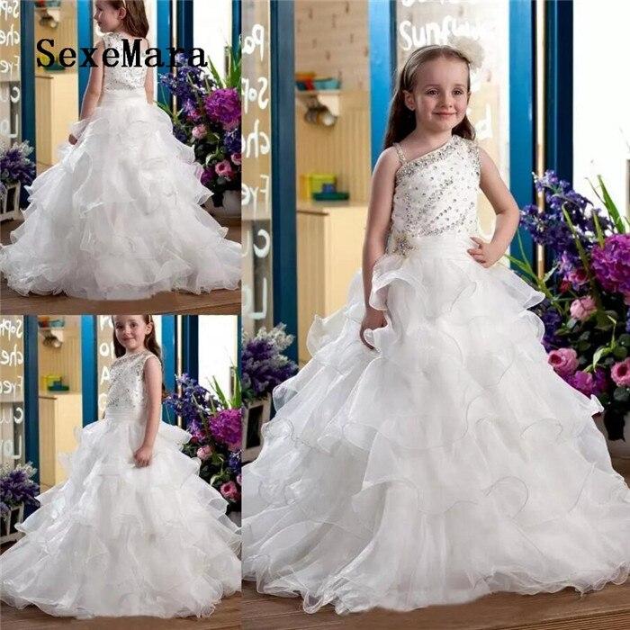 Belle nouvelle fleur personnalisée robes Spaghetti sangle dentelle fermeture à glissière dos enfants Pageant robes Robe fille fleur