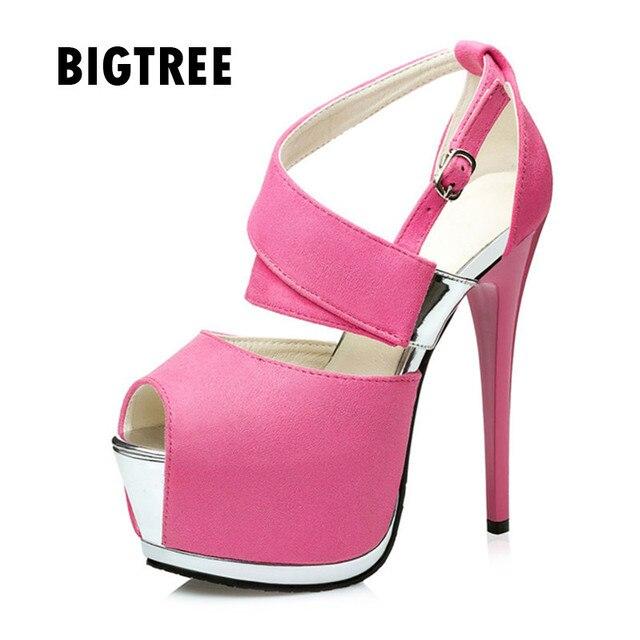 8cab3f83ea 2019 mulheres Marca sandálias Sexy pio Cinta toe fivela plataforma cunha  sapatos de salto alto clube