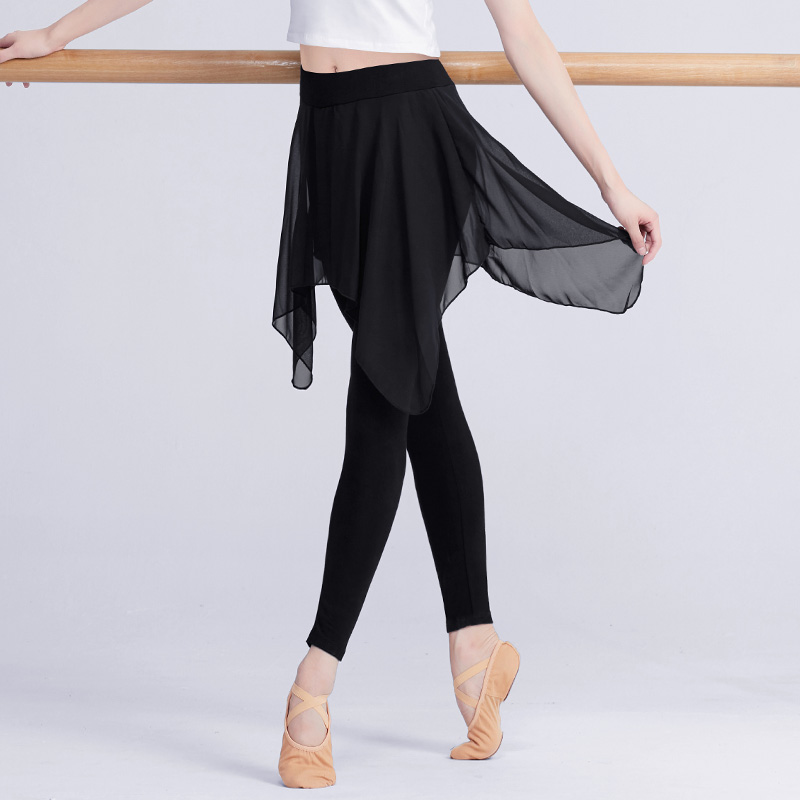 Professional Black Ballet Stretchy Dance Leggings Girls Women Adult Ballet Training Pants With Chiffon Skirt Fitness Gym Pants