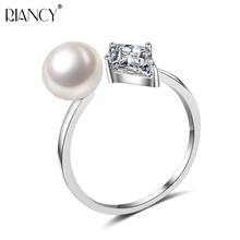 2017 New simple pearl ring  for women,trendy 925 silver jewelry, adjustable natural pearl ring, fine pearl Jewelry, top quality stylish simple style faux pearl chunky cuff ring for women