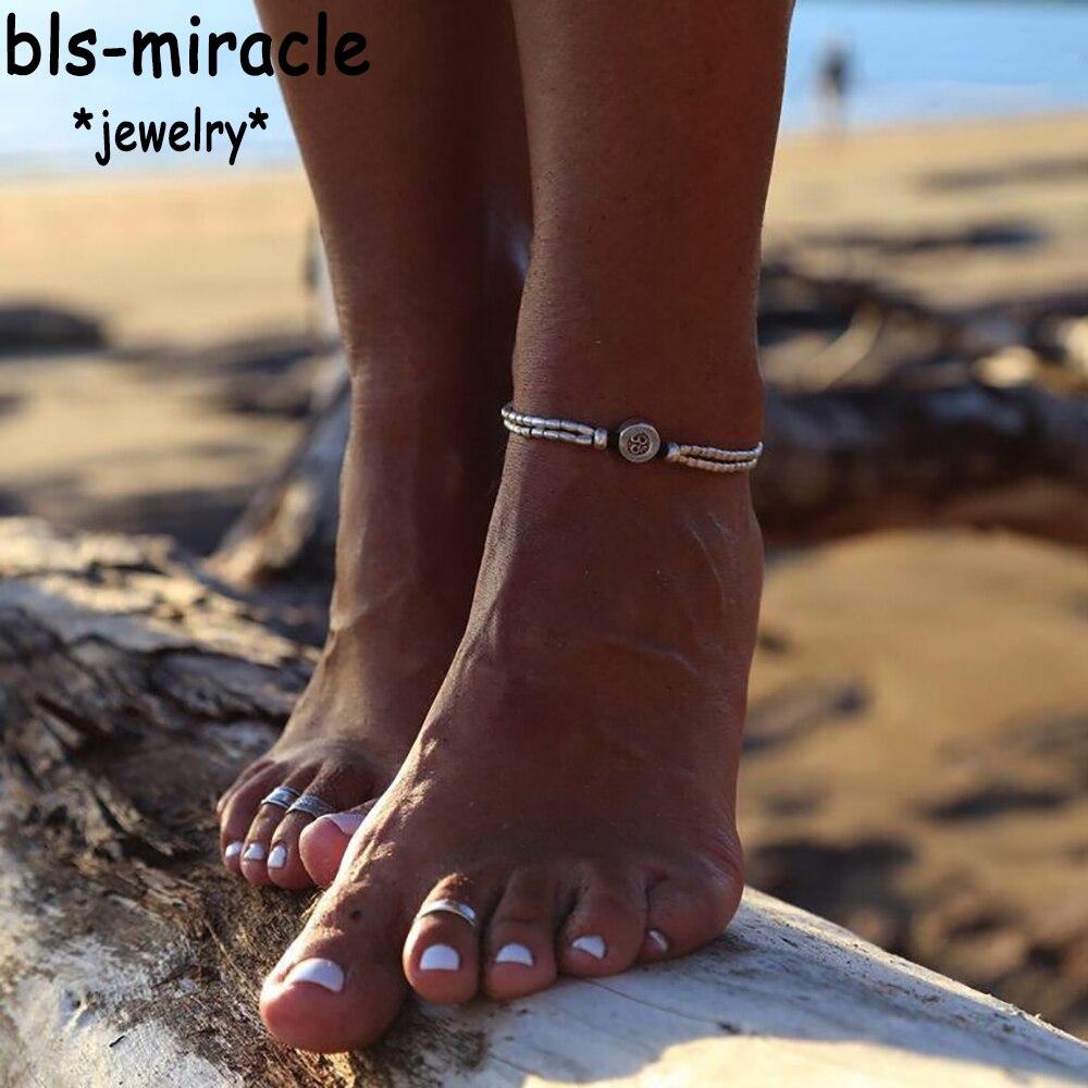 ✔  Летние украшения для ног серебристого цвета в форме звезды  браслет из бисера  красивый подарок женщ ✔