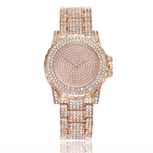 Luxury starry full diamond watch female model alloy steel belt quartz watch