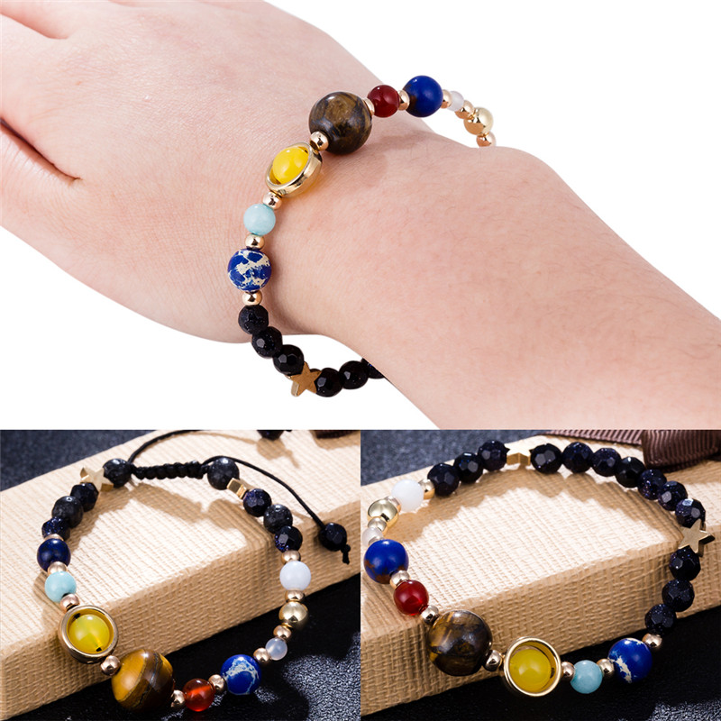 Universe Galaxy the Eight Planets in the Solar System Guardian Star Natural Stone Beads Bracelet Bangle for Women & Men Gift