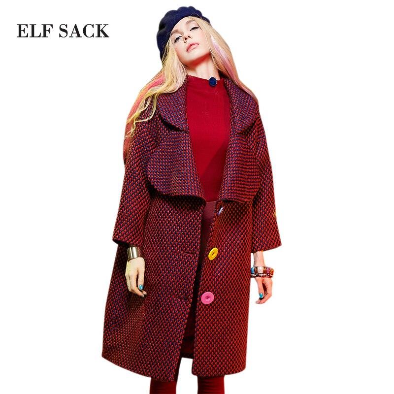 Эльф Sack YP зимние свободные с отложным воротником шерстяное пальто вязаная шерстяная верхняя одежда женский Длинный дизайн