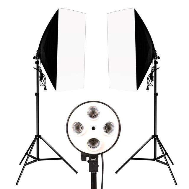 Photo Studio 8 LED 24W Softbox Kit Photographic Lighting Kit Camera Photo Accessories 2 Light Stand 2 Softbox 2 Lamp Holder 2