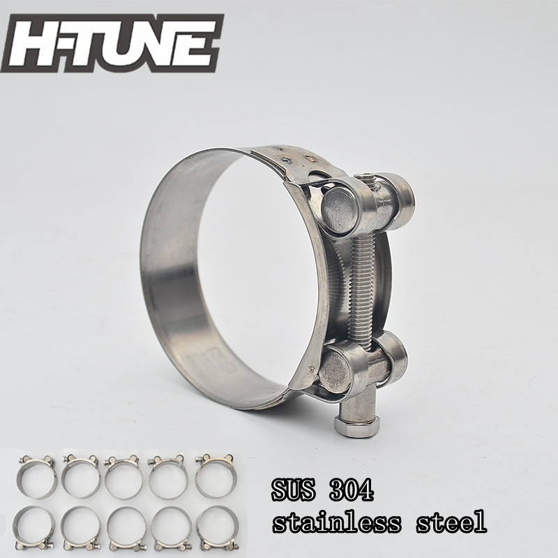H-TUNE 10pcs 60-63mm Stainless Steel 304 T-Bolt Turbo Silicone Hose Clamp Downpipe Exhaust Heavy Duty Super Clamp Kits цены
