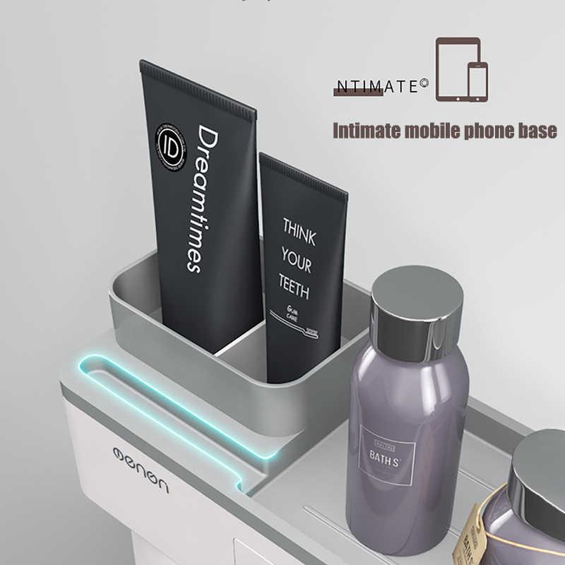 BAISPO Магнитный адсорбционный держатель для зубной щетки перевернутая чашка настенное крепление Ванная комната моющее средство полка для ванной аксессуары набор