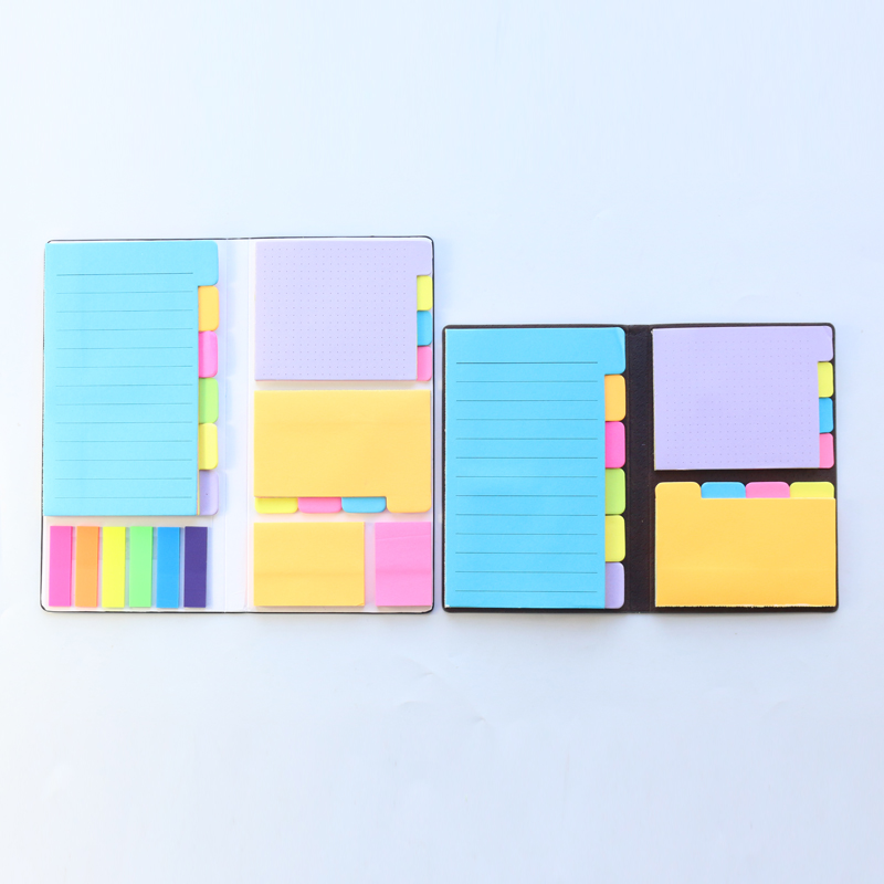 Domikee Classic Office School Leather Colorful Sticky Index Label Writing Notepads Stationery,fine Memo Pad Tabbed Ruled Notes