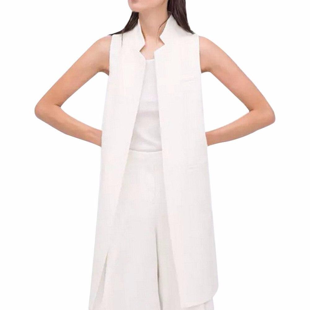 AZULINA 2016 Kobiet Jesień Marynarka Kobiet Białe Czarne Kobiety Garnitur Długi Sweter Marynarka Kamizelka Bez Rękawów Kurtka Płaszcz 5