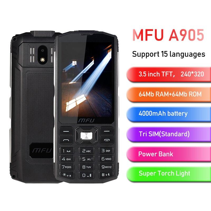 MFU 2G Feature Rugged Phone 3.5 Large Display 4000mAh Power Bank Tri Sim Big Volume Torch Light Quick Call Keyboard Cellphone