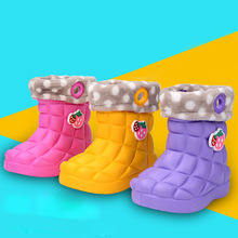 Rain Boots Plus Cotton Cute Shoes For Girls Popular Style Boys Kids Snow Outdoor Children Rain Boots Hot Shoes For Girls Winter