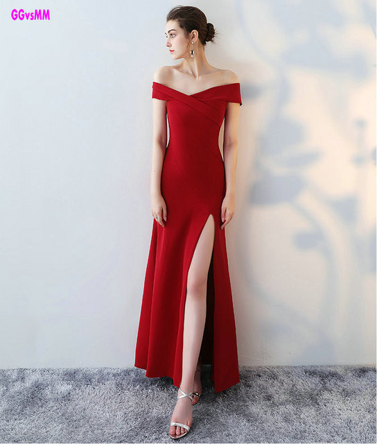 65197ebb526 Real Photos Sexy Red Mermaid Evening Dresses 2018 Simple Style Formal  Evening Party Dress Long Prom Gown Can Customize Any Color