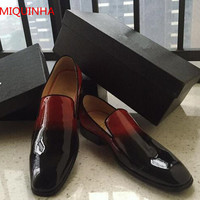 LTTL Red Black Gradient Patent Leather Men Loafers Round Toe Slip On Flat Comfortable Menmade Shoes