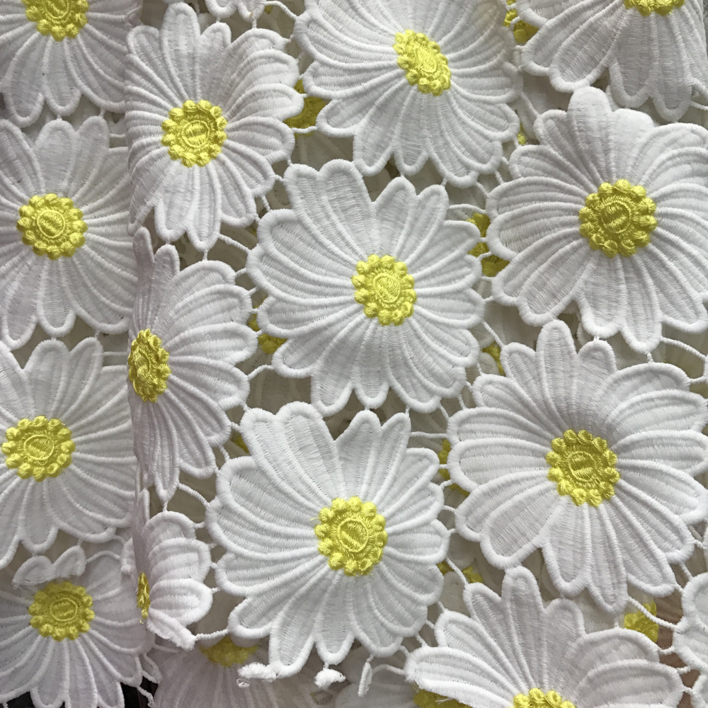 Off White Yellow Daisy Guipure Lace Fabric By The Yard Wedding Embroidered Lace Fabric Hollowed Out Fabric For Sewing Craft