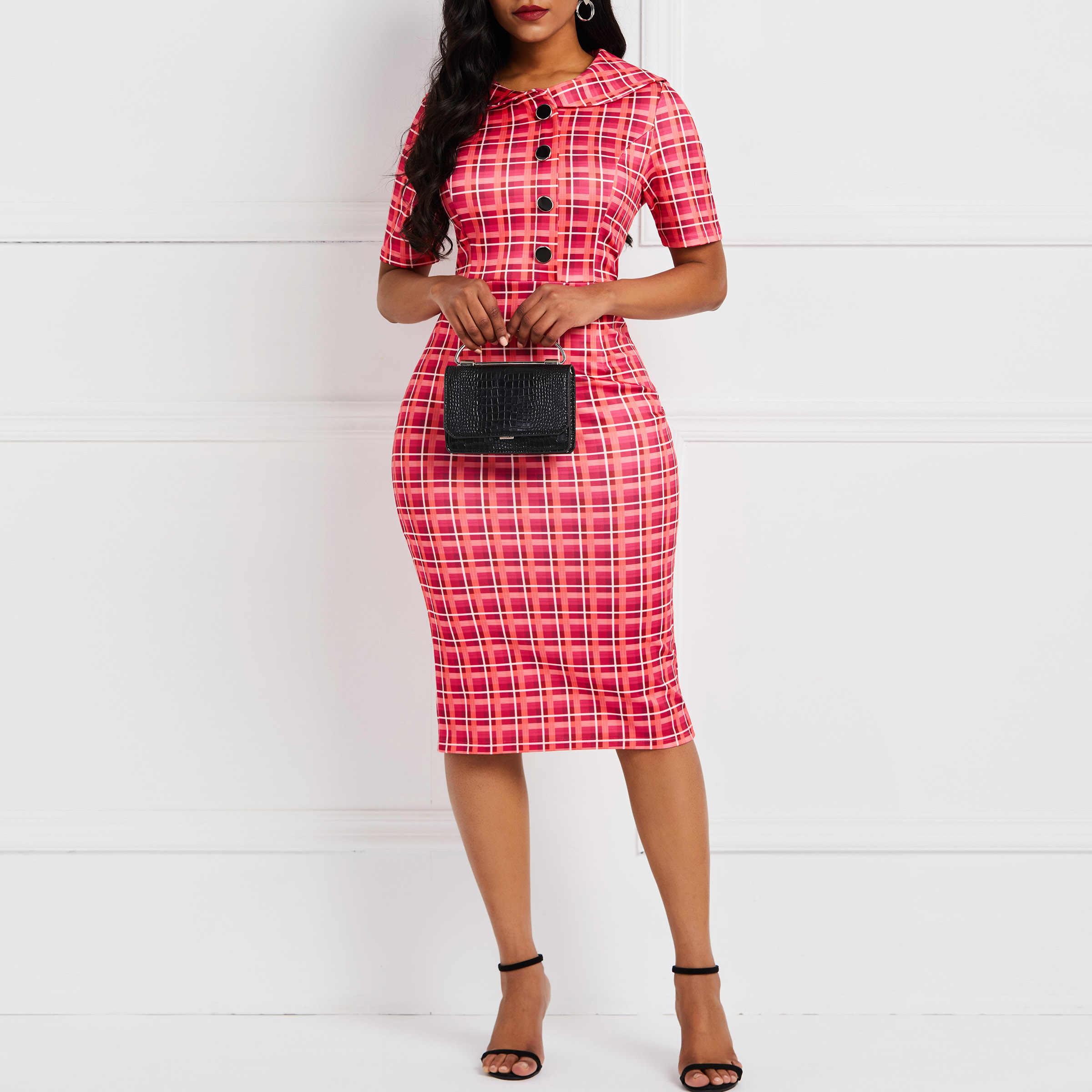 Клетчатые женские обтягивающие платья с принтом пикантные винтажные модные уличные элегантные женские летние повседневные офисные платья