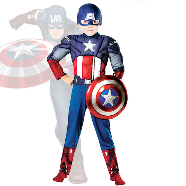 Hot Sell Children Avengers Captain America Muscle Cosplay Costume for Boys Superman Fancy Halloween Party Costumes for kids