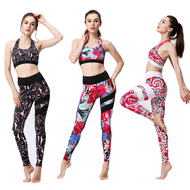Print Women s Yoga Sets Quick Dry Sports Yoga Bra Tight Yoga Pants Mujer Gym  Clothing Sportswear Exercise Clothes For Female ef452bb03f