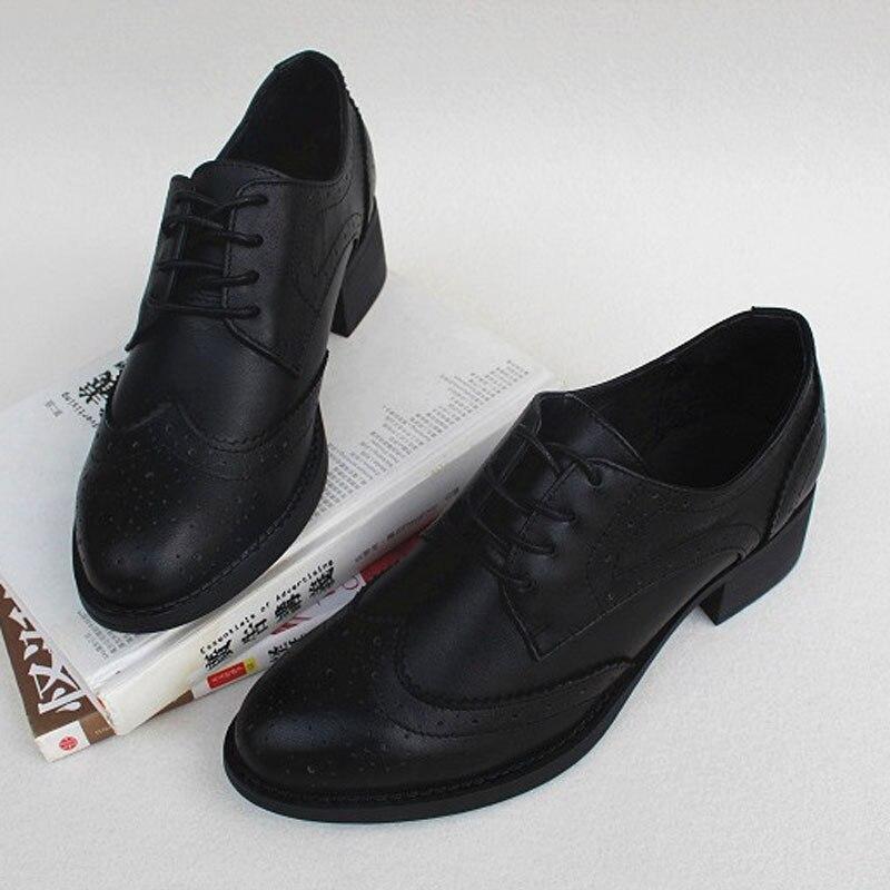 Damskie buty zasznurować damskie buty typu oxford 100% prawdziwej skóry panie płaskie buty 2019 wiosna jesień obuwie damskie (w8133) w Damskie buty typu flats od Buty na  Grupa 1
