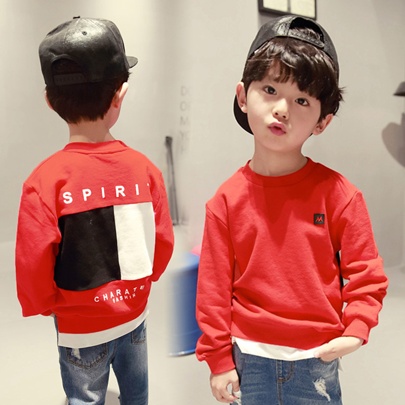 2017 Autumn long sleeve t-shirt for boys fake two pieces kids spring shirts children tops boy's sweatshirts baby clothing tees