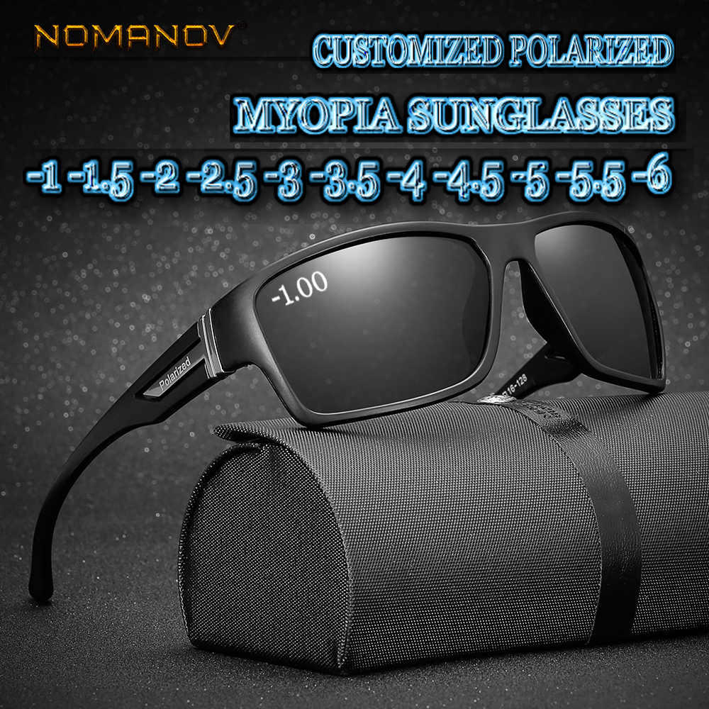 Custom Made Myopia Minus Prescription Polarized Lens Fashion box sports polarized sunglasses male Colorful Mirror -1 -1.5 TO -6