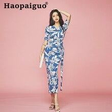 2019 Summer Vintage Print Floral Dress Women Short Sleeve Sheath Bandage Bodycon Dress Women Corset Wrap Midi Flower Dress Women wrap floral slip midi dress