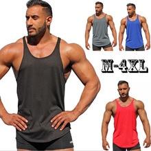 Vasaras jaunās tvertnes augšdaļas vīriešiem 2018 zīmola vīriešu vienkrāsains bezpiedurkņu veste apģērbs Bodybuilding Top tvertne vīriešu Jersey Plus izmērs M-4XL