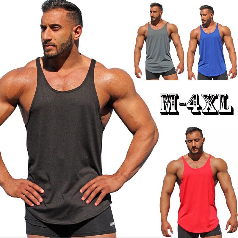 Summer New   Tank     Top   Men 2018 Brand Male Solid Color Sleeveless Vest Clothing Bodybuilding   Top     Tank   Mens Jersey Plus Size M-4XL