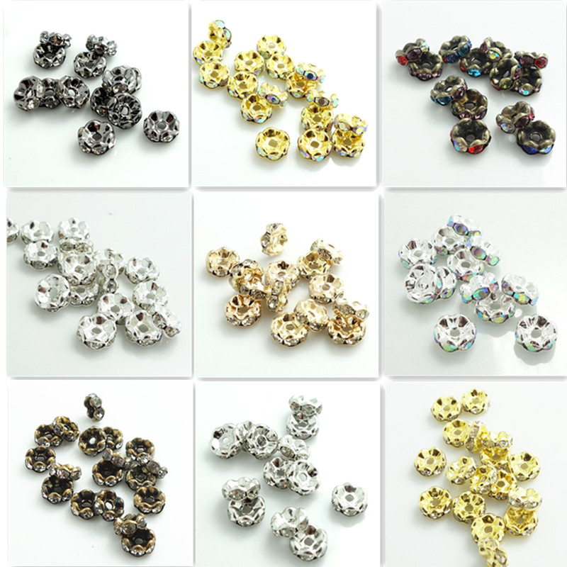 6mm Various Colours Available 30 x Resin Rhinestone Spacer Beads Rondelle