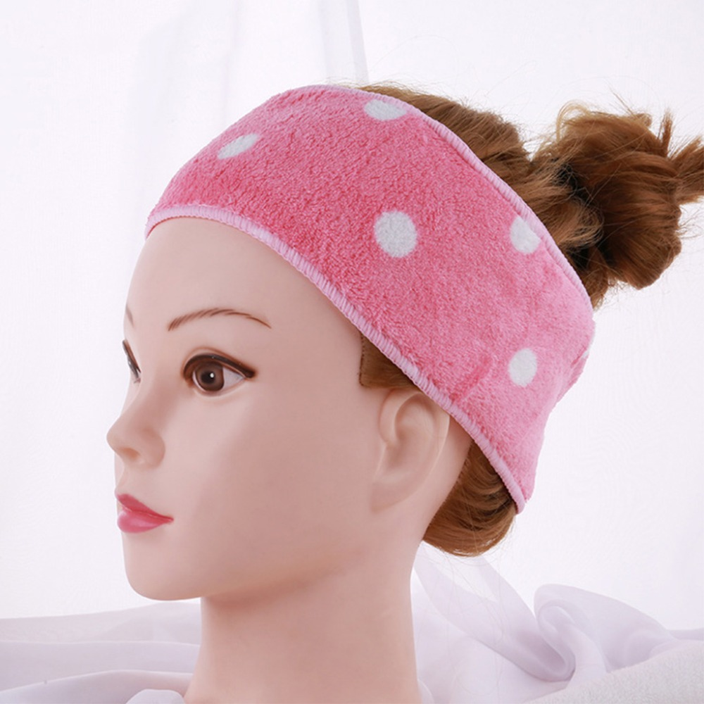 Women Adjustable Elastic Wash Face Makeup Towel Hairband Polka Dot Hair Wrap New